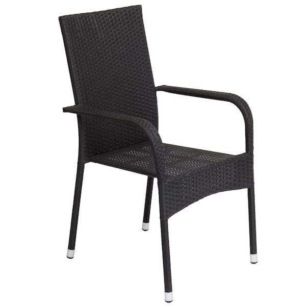 Juoda pinta iš ratano lauko kėdė